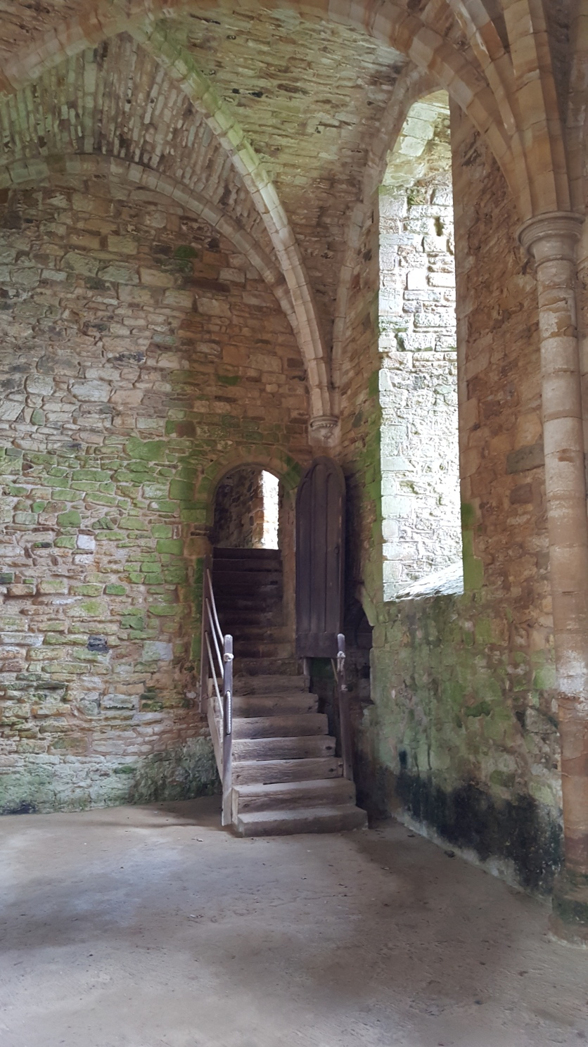 Stairs to the south end of the abbey buildings, showing the steep terracing in place
