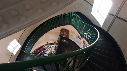 A section of the stairs in the old lighthouse
