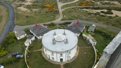 The Roundhouse at Dungeness from the top of the Old Lighthouse