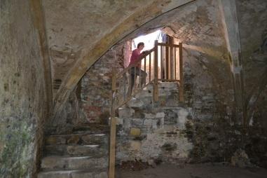 Steps down into the Salutation Inn cellar
