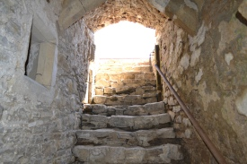 Steep steps to final cellar