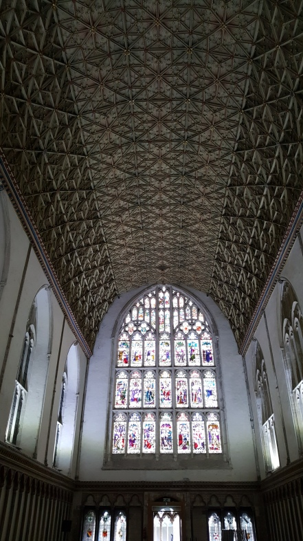 The ceiling and stained glass of the Chapter House