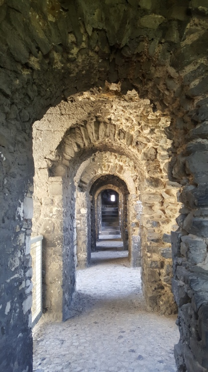 The walkway around Rochester Castle