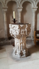 Original font in Norwich Cathedral