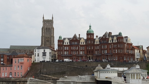 Hotel de Paris and the parish church from Cromer Pier