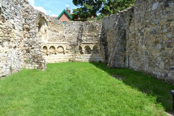 The remains of the Leper Hospital in the churchyard at Dunwich
