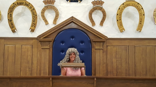 In the judges chair (and wig) at Oakham Castle