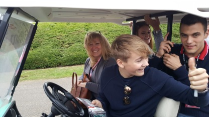 Billy Monger (and his mum) reversing back to sign autographs