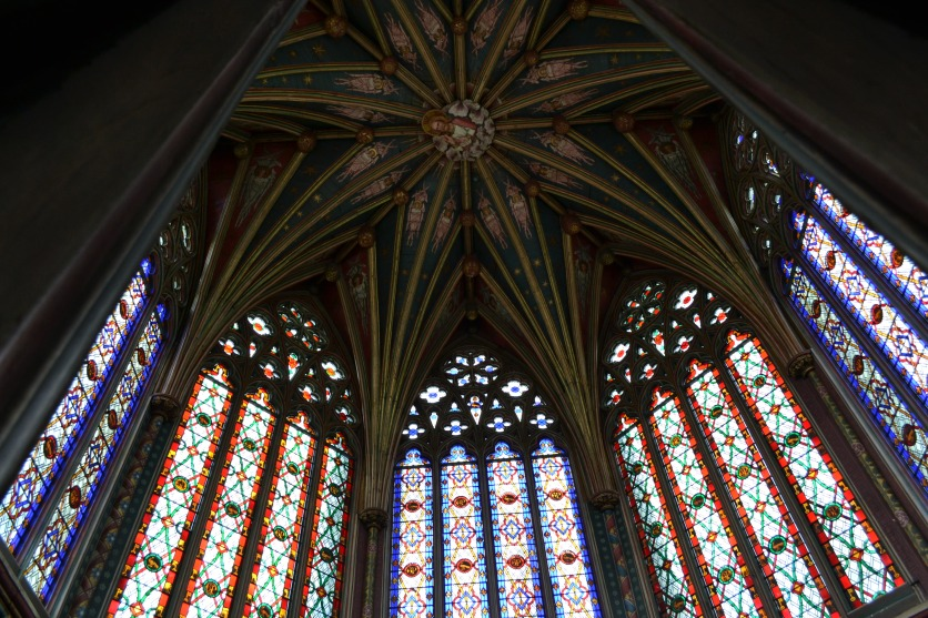 Looking up from an open Angel Panel, Ely Cathedral