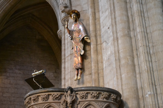 New Sculpture above the pulpit in Ely Cathedral