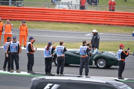 Hamilton about to leave his car on the parade lap