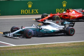 Hamilton & Vettel practising their starts at the end of Practice 2