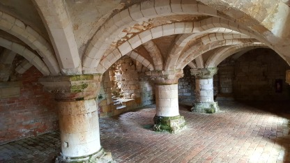 The vaulted basement of Burton Agnes Norman Manor House