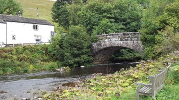 Bridge over the river at Hubberholme with The George in the background