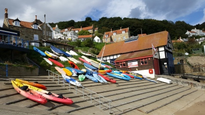 Boats and the lifeboat station at Runswick Bay