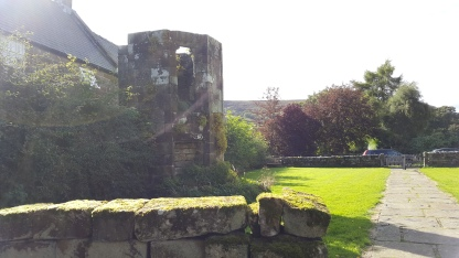 Tower ruins in the churchyard at Rosedale Abbey