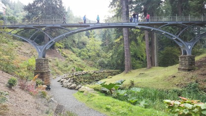 Iron Bridge linking the gardens with the house at Cragside