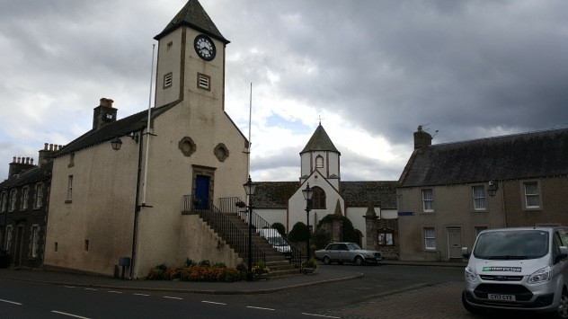 Lauder Town Hall and the old parish church in the background
