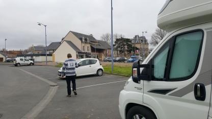 Looking towards the shops at Hermanville-sur-Mer motorhome parking
